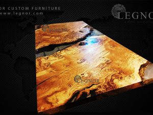 asimetric oak epoxy table