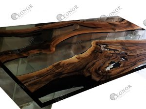 Clear Resin Walnut Table