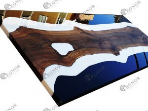 black and white resin walnut table