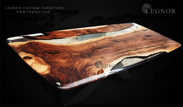 Oval Shape Clear Resin Walnut Table