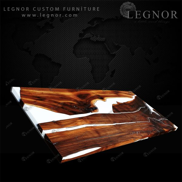 white resin rustic walnut table