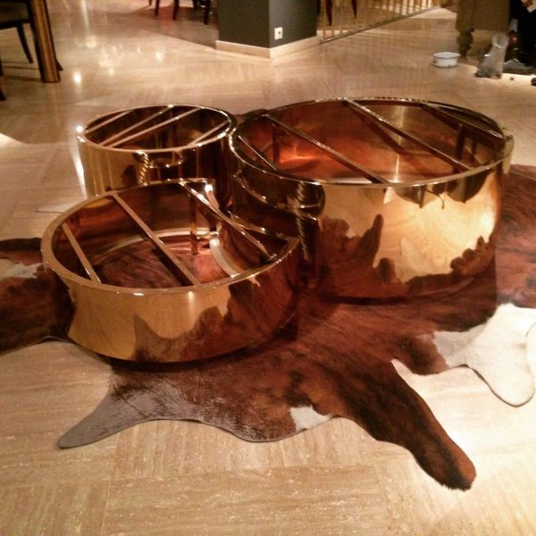 Stainless Steel Round Coffee Table Set