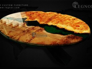 oval green resin mappa burl table