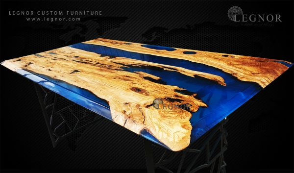 Blue Turqoise resin Olive Table