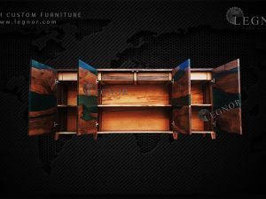 Metalic Green Resin Walnut Console