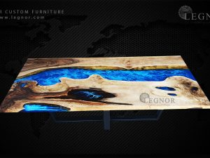 Art blue resin walnut table