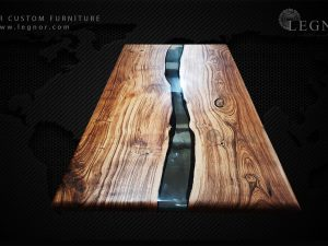 Chesnut table with smoke grey resin