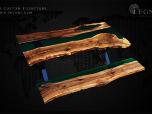 green resin live edge walnut table set