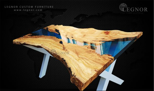 turqouise resin live edge olive table