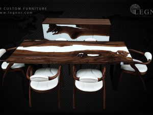 White resin walnut dining set